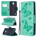 For Nokia 1.3 Two Butterflies Embossing Pattern Horizontal Flip Leather Case with Holder & Card Slot & Wallet & Lanyard(Green)