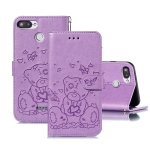 For Xiaomi Redmi 6 / 6A Embossed Butterfly Love Bear Pattern PU + TPU Horizontal Flip Leather Case with Holder & Card Slots & Wallet & Photo Frame(Purple)