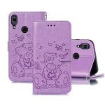For Xiaomi Redmi Note 7 Embossed Butterfly Love Bear Pattern PU + TPU Horizontal Flip Leather Case with Holder & Card Slots & Wallet & Photo Frame(Purple)