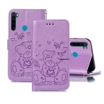 For Xiaomi Redmi Note 8 Embossed Butterfly Love Bear Pattern PU + TPU Horizontal Flip Leather Case with Holder & Card Slots & Wallet & Photo Frame(Purple)