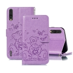 For Xiaomi Mi CC9 Embossed Butterfly Love Bear Pattern PU + TPU Horizontal Flip Leather Case with Holder & Card Slots & Wallet & Photo Frame(Purple)