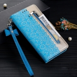 For Xiaomi Redmi Note 8 Pro Lace Pattern Double Button Zipper Horizontal Flip Leather Case with Holder & Card Slots & Wallet(Blue)