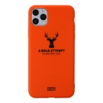 For iPhone 11 Pro Max Elk Pattern Shockproof Frosted TPU Protective Case(Orange)