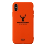 For iPhone X / XS Elk Pattern Shockproof Frosted TPU Protective Case(Orange)