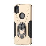 For Motorola Moto E6 Shockproof PC + TPU Case with Ring Holder(Gold)