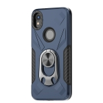For Motorola Moto E6 Shockproof PC + TPU Case with Ring Holder(Navy Blue)