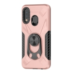 For Samsung Galaxy A20e Shockproof PC + TPU Case with Ring Holder(Rose Gold)