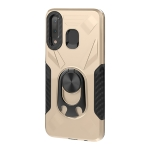 For Samsung Galaxy A30 Shockproof PC + TPU Case with Ring Holder(Gold)