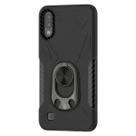 For Samsung Galaxy M10 Shockproof PC + TPU Case with Ring Holder(Black)