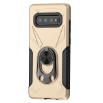 For Samsung Galaxy S10 Shockproof PC + TPU Case with Ring Holder(Gold)