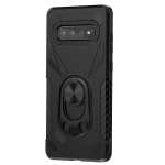 For Samsung Galaxy S10 Shockproof PC + TPU Case with Ring Holder(Black)