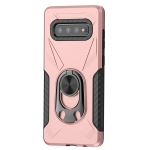 For Samsung Galaxy S10+ Shockproof PC + TPU Case with Ring Holder(Rose Gold)