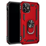 For iPhone 12 6.1 inch Shockproof TPU + PC Protective Case with 360 Degree Rotating Holder(Red)