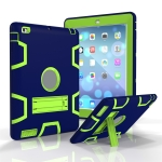 For iPad 4 / 3 / 2 / 1 Shockproof PC + Silicone Protective Case,with Holder(Navy Blue Yellow Green)