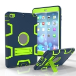 For iPad Mini 4 / 3 / 2 / 1 Shockproof PC + Silicone Protective Case,with Holder(Navy Blue Yellow Green)