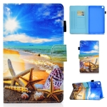 For Samsung Galaxy Tab S6 Lite P610 Colored Drawing Stitching Horizontal Flip Leather Case with Holder & Card Slots(Blue Sky Starfish)