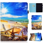 For Huawei MediaPad T3 10.0 inch Colored Drawing Stitching Horizontal Flip Leather Case with Holder & Card Slots(Blue Sky Starfish)