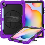 For Samsung Galaxy Tab S6 Lite P610 Shockproof Colorful Silicone + PC Protective Case with Holder & Shoulder Strap & Hand Strap & Pen Slot(Purple)