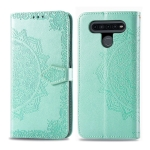 For LG K51S Embossed Mandala Pattern PC + TPU Horizontal Flip Leather Case with Holder & Card Slots & Wallet(Green)