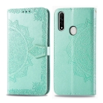 For OPPO A8 Embossed Mandala Pattern PC + TPU Horizontal Flip Leather Case with Holder & Card Slots & Wallet(Green)