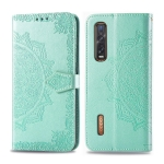 For OPPO Find X2 Pro Embossed Mandala Pattern PC + TPU Horizontal Flip Leather Case with Holder & Card Slots & Wallet(Green)