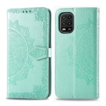 For Xiaomi Mi 10 Lite 5G Embossed Mandala Pattern PC + TPU Horizontal Flip Leather Case with Holder & Card Slots & Wallet(Green)