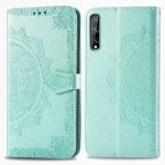 For Huawei Y8P / Enjoy 10s Embossed Mandala Pattern PC + TPU Horizontal Flip Leather Case with Holder & Card Slots & Wallet(Green)