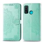 For Huawei P Smart 2020 Embossed Mandala Pattern PC + TPU Horizontal Flip Leather Case with Holder & Card Slots & Wallet(Green)