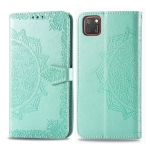 For Huawei Y5P(2020) Embossed Mandala Pattern PC + TPU Horizontal Flip Leather Case with Holder & Card Slots & Wallet(Green)