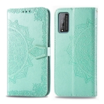 For Huawei Honor Play 4T Pro Embossed Mandala Pattern PC + TPU Horizontal Flip Leather Case with Holder & Card Slots & Wallet(Green)