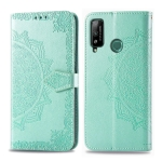 For Huawei Play 4T Embossed Mandala Pattern PC + TPU Horizontal Flip Leather Case with Holder & Card Slots & Wallet(Green)
