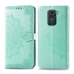 For Xiaomi Redmi 10X 4G / Note 9 Embossed Mandala Pattern PC + TPU Horizontal Flip Leather Case with Holder & Card Slots & Wallet(Green)