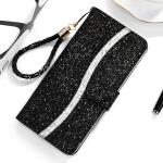 For Huawei Honor 8A / Y6 (2019) Glitter Powder Horizontal Flip Leather Case with Card Slots & Holder & Lanyard(Black)