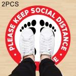 2 PCS Self-adhesive Waterproof PVC Epidemic Prevention Social Distance Floor Stickers, Length:43cm