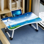 W-shaped Non-slip Legs Pattern Adjustable Folding Portable Laptop Desk with Card Slot (Sea Island)