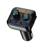 REMAX RCC105 Safone Series Dual USB Interface FM Launch Car Charger with LED Display, Supports Bluetooth Call / Music & TF Card(Black)