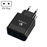 FLOVEME YXF205704 AE-FLM Dual-Port USB Charger Adapter, EU Plug (Black)