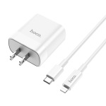 Hoco C80 Rapido 18W PD + QC3.0 Fast Charging USB Travel Charger Power Adapter with Type-C Lightning, US Plug