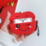 For AirPods Pro Red Apple Shape Silicone Earphone Protective Case with Hook