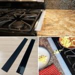 2 PCS 25 inches Gas Stove Slit Strip Antifouling Dustproof Waterproof Kitchen Sealing Strip (Black)