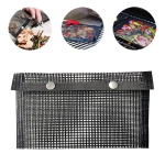 Barbecue Heat Resistant Non-stick Grilling Mesh BBQ Baking Bag, Size: 24 x 14cm (Black)