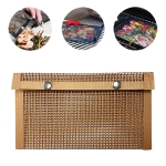 Barbecue Heat Resistant Non-stick Grilling Mesh BBQ Baking Bag, Size: 24 x 14cm (Copper)