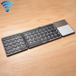 GK408 Rechargeable 3-Folding 67 Keys Bluetooth Wireless Keyboard with Touchpad (Black)
