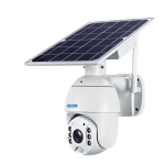 ESCAM QF480 US Version HD 1080P IP66 Waterproof 4G Solar Panel PT IP Camera with Battery, Support Night Vision / Motion Detection / TF Card / Two Way Audio (White)