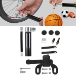 Manual Mini Portable Bicycle Aluminum Alloy Pump+ Glue-free Tire Patch + Fish-shaped Tire Lever (Black)