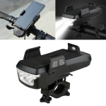 USB Charging Bicycle Light Front Handlebar Led Light  , with Holder & Electric Horn,4000mAh Battery (Black)