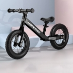 Aluminum Alloy Integrated Body Children Balance Bike Without Pedal Three-wheeled Slide Toddler Bike (Black)