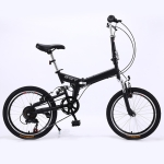 20 inch Folding Shock Absorbing Bicycle Variable Speed Mountain Bike (Black)