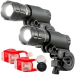 5W Mountain Bike Headlight Charging Zoom Glare Waterproof Flashlight Set (Set Two)