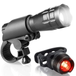 5W Mountain Bike Headlight Charging Zoom Glare Waterproof Flashlight Set Car Headlight + Taillight (Set Five)